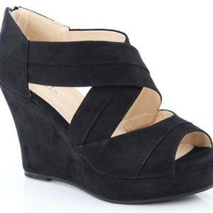 Shoes - Black Crisscross Wedges